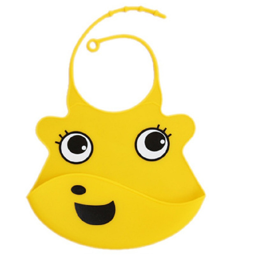 Kid Infant Baby Bibs Soft Silicone Waterproof Large Size Dripping Bibs Yellow smiley face