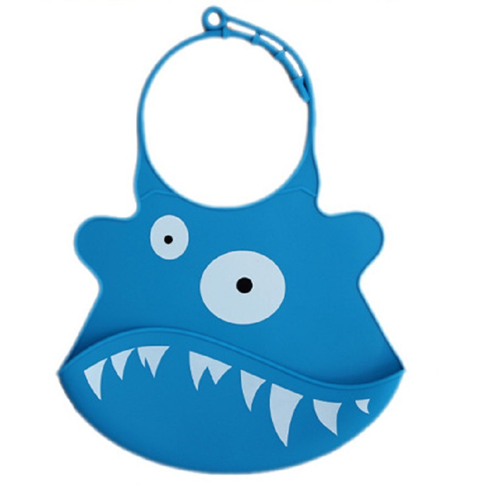 Kid Infant Baby Bibs Soft Silicone Waterproof Large Size Dripping Bibs Sapphire shark