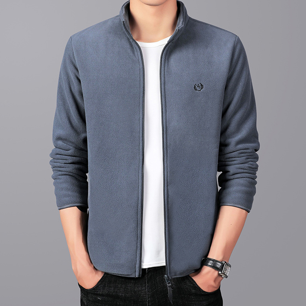 Men Autumn Winter Casual Stand-up Collar Cotton Blend Jacket Coat Top gray_4XL