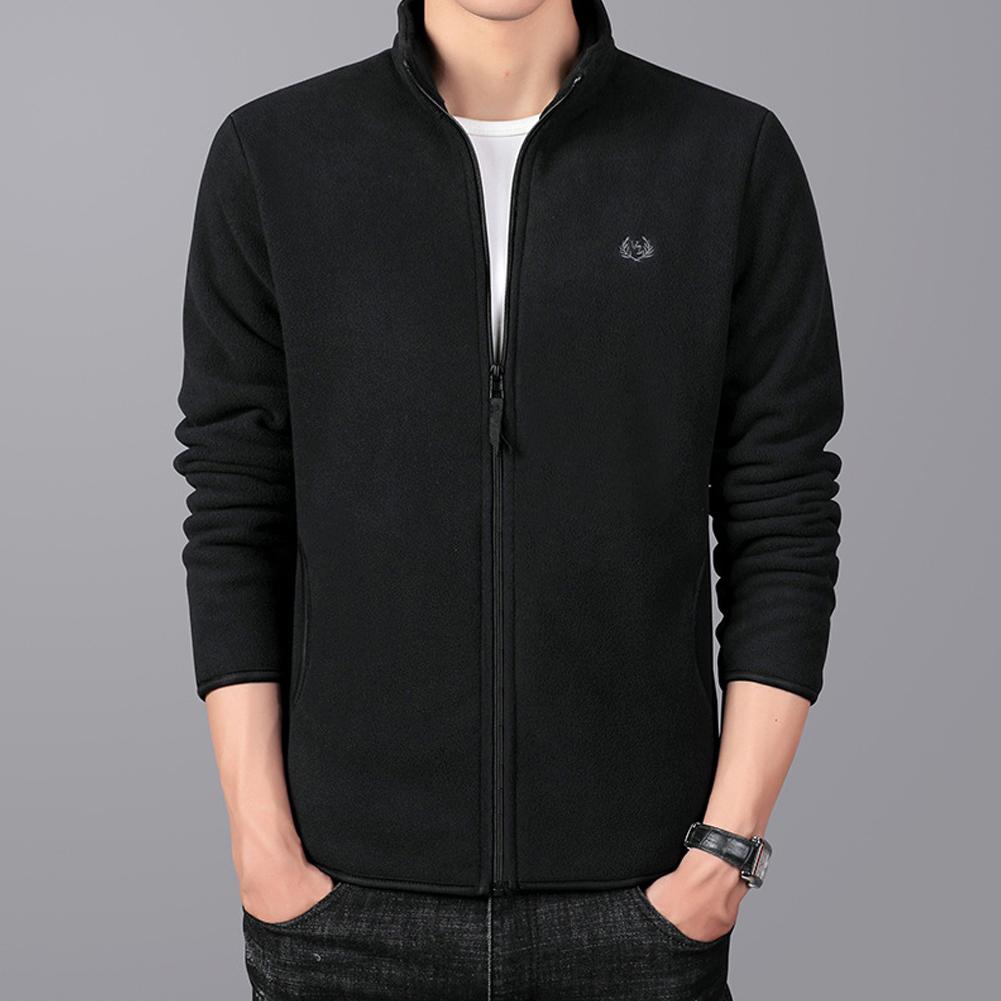Men Autumn Winter Casual Stand-up Collar Cotton Blend Jacket Coat Top black_M