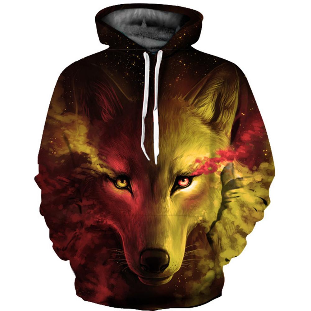 Men Women 3D Yellow Wolf Digital Printing Hooded Sweatshirt Yellow wolf_M