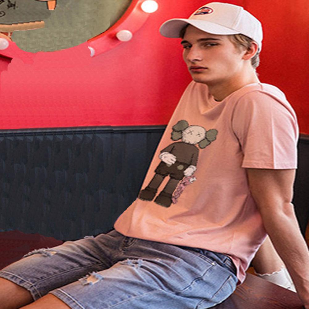 Boy Girl KAWS Couple T-shirt Cartoon Doll Crew Neck Short Sleeve Loose Student Pullover Tops Pink_XL