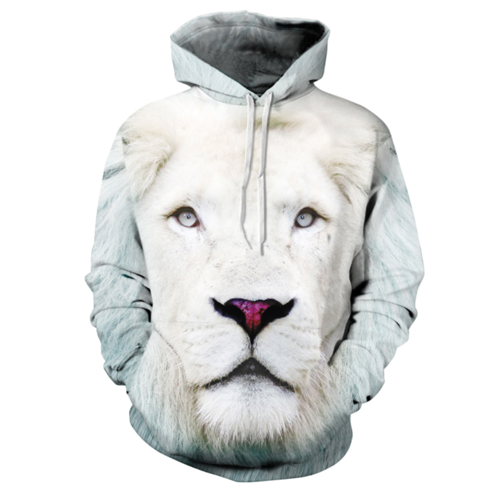 Halloween 3D Printed Lion Hoodie Cool Men/Women Casual Hooded Pullover as shown_XXL