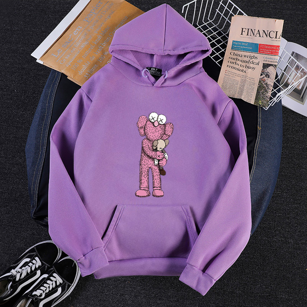 KAWS Men Women Cartoon Hoodie Sweatshirt Holding Doll Thicken Autumn Winter Loose Pullover Purple_L