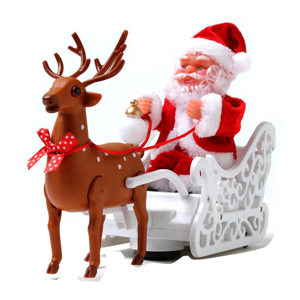Electric  Christmas  Ornaments Elk Sleigh Santa Claus Electric Music Deer Cart Creative Christmas Gifts Deer pull cart