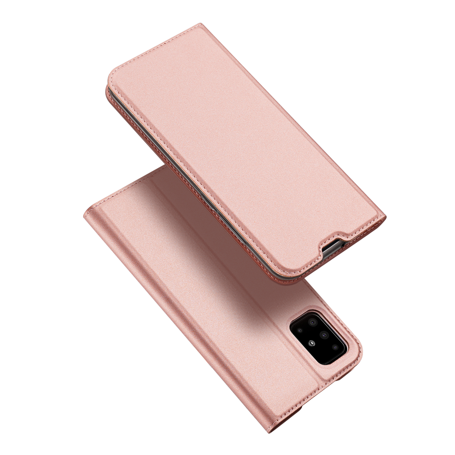 For Samsung A51/A71 Cellphone Shell Elegant Mobile Phone Cover Stand Function Screen Camera Protector Shockproof Case Rose gold