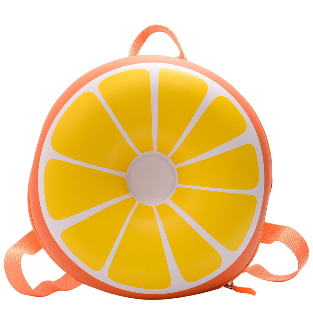 Baby Backpack Nylon Pvc Waterproof Cartoon Fruit Shape Cute Snack Bag orange