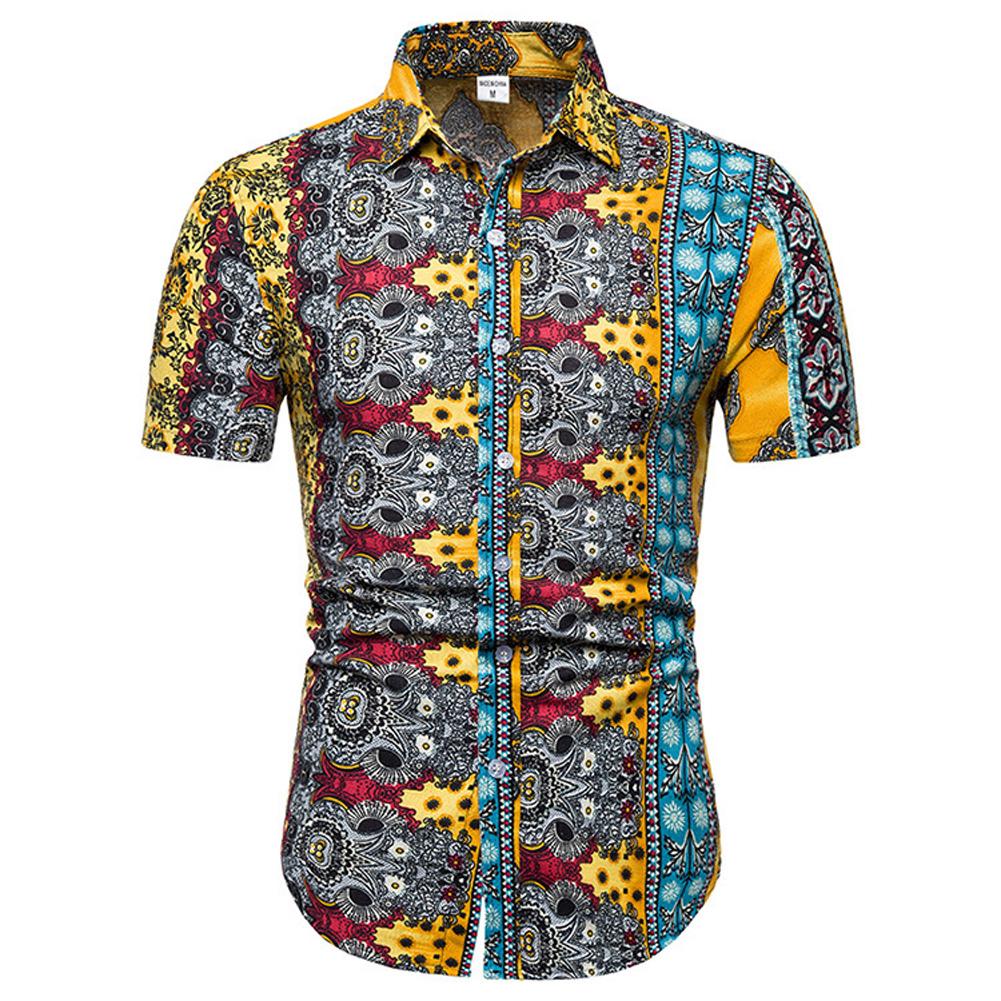 Men Summer Fashion Short Sleeve Breathable Casual Slim Shirt Tops yellow_2XL
