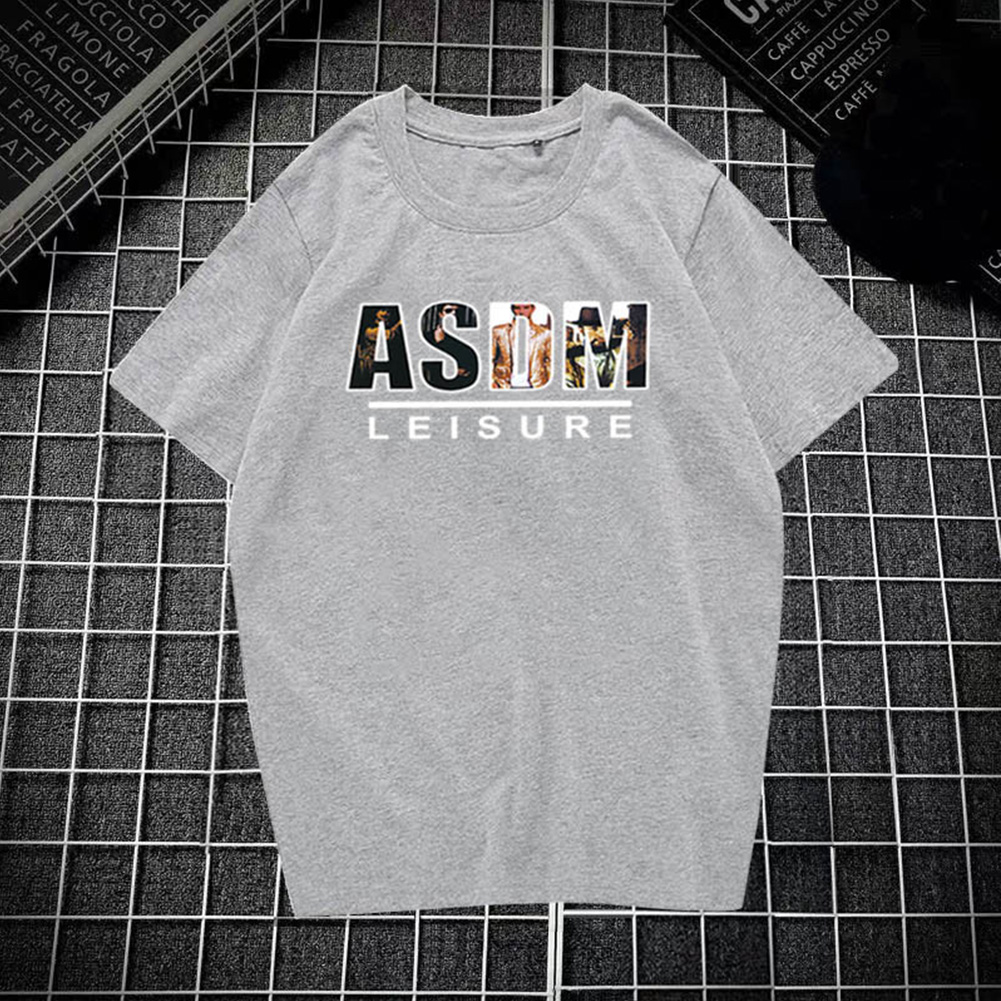 Male Leisure Top with Letters Decorated Short Sleeves and Round Neck Shirt Casual Pullover for Man ASDM gray_L