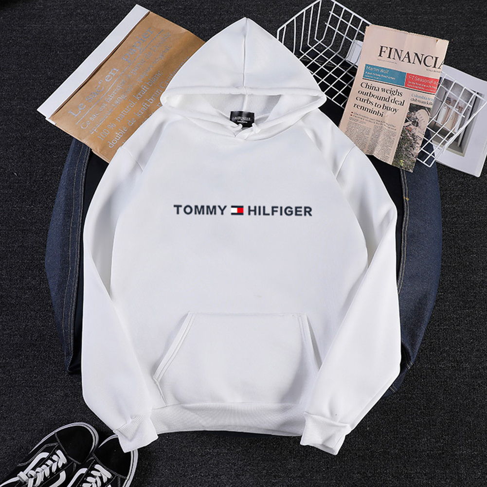 Men Women Hoodie Sweatshirt Printing Letters Thicken Velvet Loose Fashion Pullover White_XXL