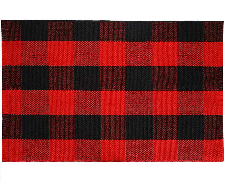 Carpet Doormat Cotton Plaid Floor Door Kitchen Bathroom Outdoor Porch Laundry Woven Carpet Red and black grid_60*130cm