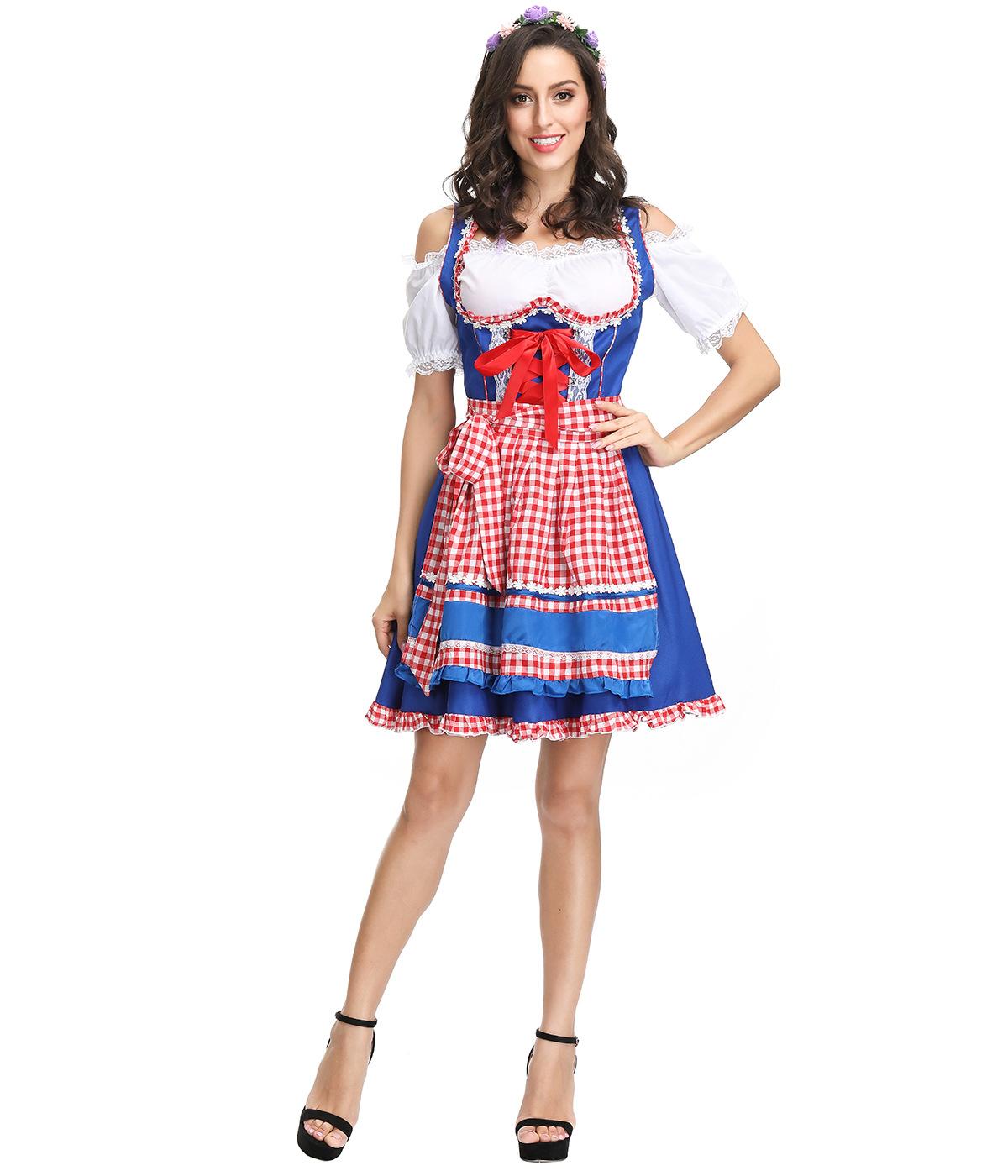 Women Oktoberfest Dirndl Off-shoulder Maid Cosplay Dress Costume Beer Festival Dress blue_M