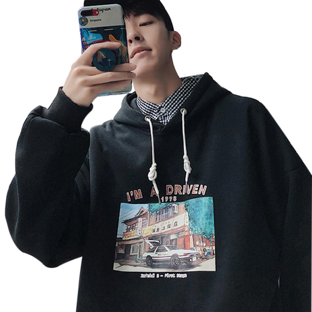 Men Women Hoodie Sweatshirt Printing Letter Car Spring Autumn Loose Pullover Tops Black_M