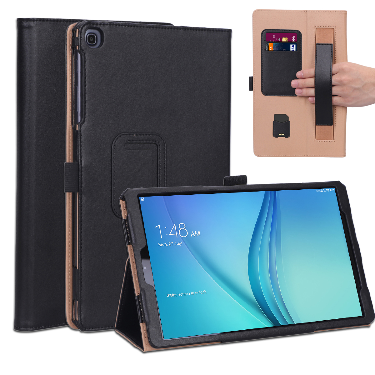 For Samsung TAB A 10.1 T510 T515 2019 Retro PU Leather Protective Hand Support Tablet Case with Card Position Bracket  black_Samsung TAB A 10.1 T510 T515 2019