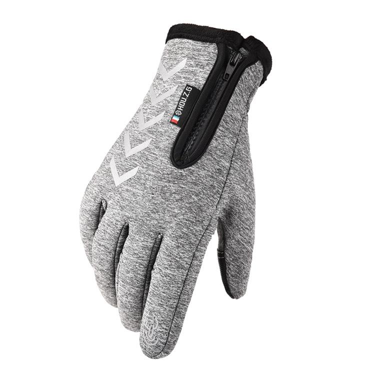 Ski Gloves Anti Slip Winter half-finger full -finger Windproof Gloves Cycling Fluff Warm Gloves For Touchscreen Long finger gray_M