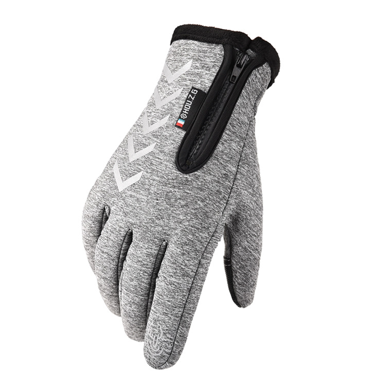 Ski Gloves Anti Slip Winter half-finger full -finger Windproof Gloves Cycling Fluff Warm Gloves For Touchscreen Long finger gray_L
