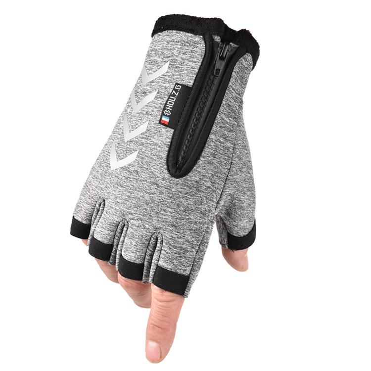 Ski Gloves Anti Slip Winter half-finger full -finger Windproof Gloves Cycling Fluff Warm Gloves For Touchscreen Half finger gray_M