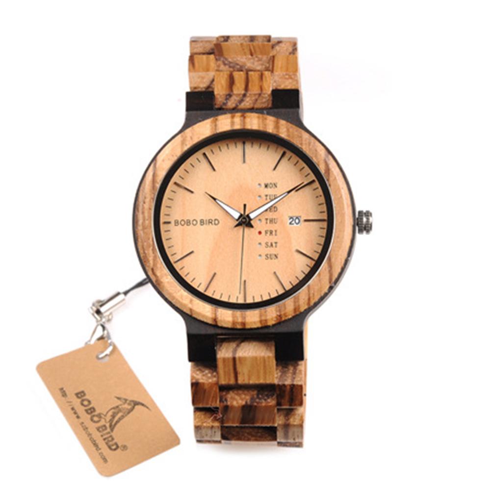Wooden Men Quartz Watch with Calendar Pastorale Wristwatch Ornament Gift Brown