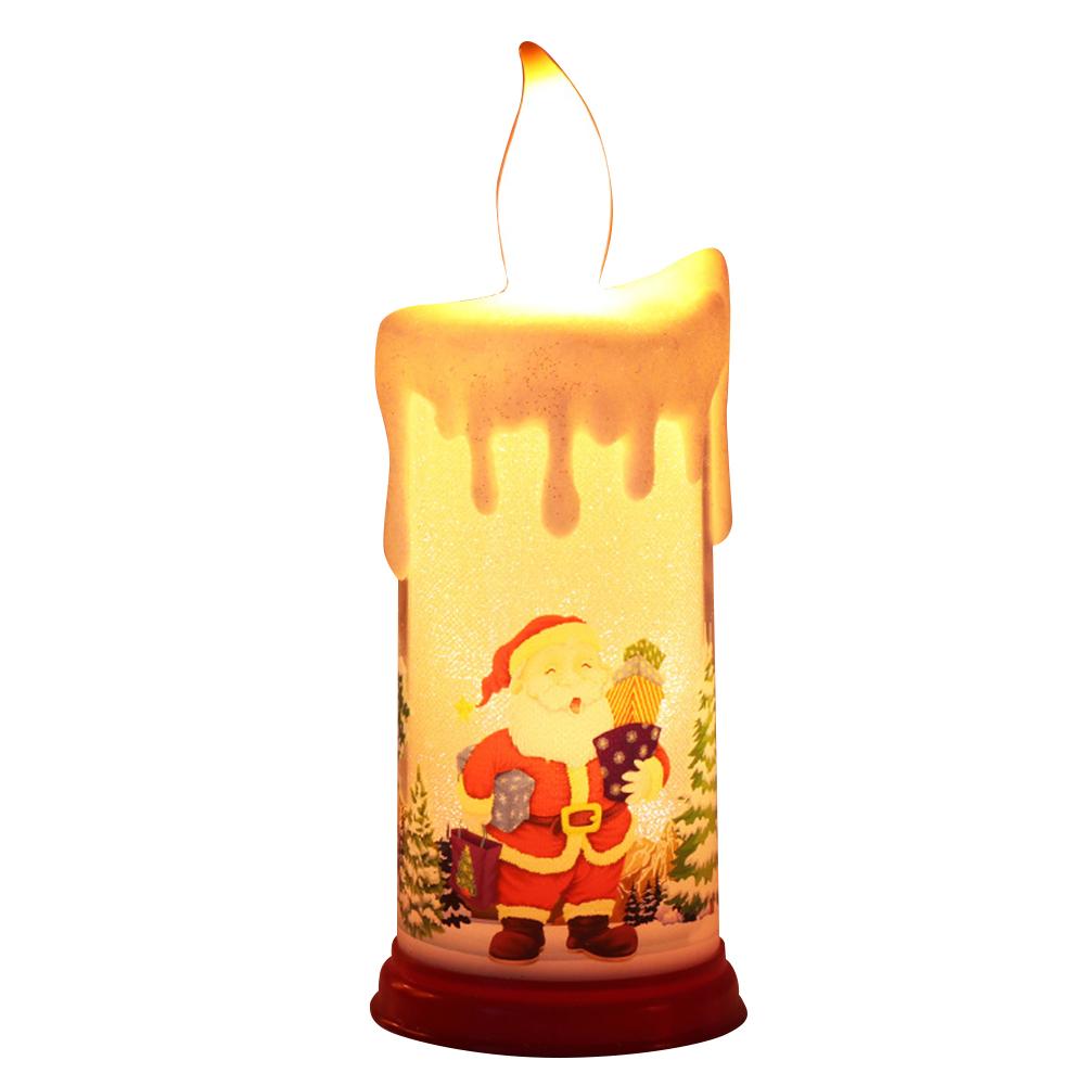 Electronic Simulation Candle  Light Led Candle Santa Claus Snowman Decoration Night Light Type B santa claus