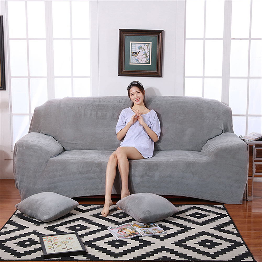 Plush Stretch Sofa Covers Stylish Furniture Cushions Sofa Slipcovers Winter Cover Protector  Light gray_Double 145-185cm