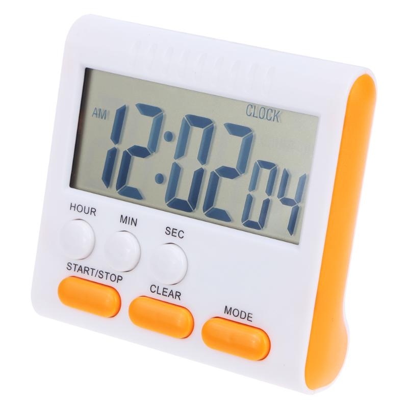 Magnetic Large LCD Digital Kitchen Timer with Loud Alarm Count Up& Down Clock to 24 Hours White + orange