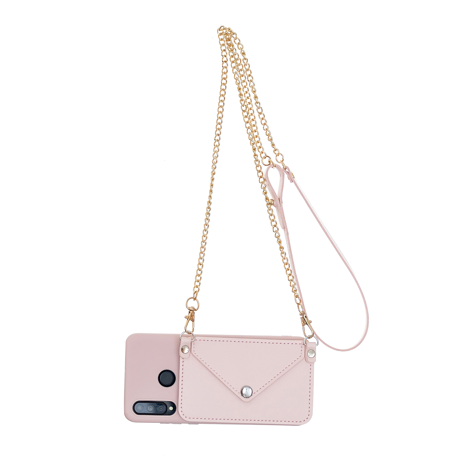 For HUAWEI P30/P30 Lite/P30 Pro Mobile Phone Cover with Pu Leather Card Holder + Hand Rope + Straddle Rope Pink
