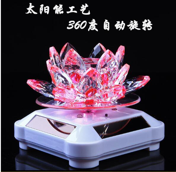 Glass Lotus Ornament with Solar Spin System Light Illuminated Base White background - pink lotus