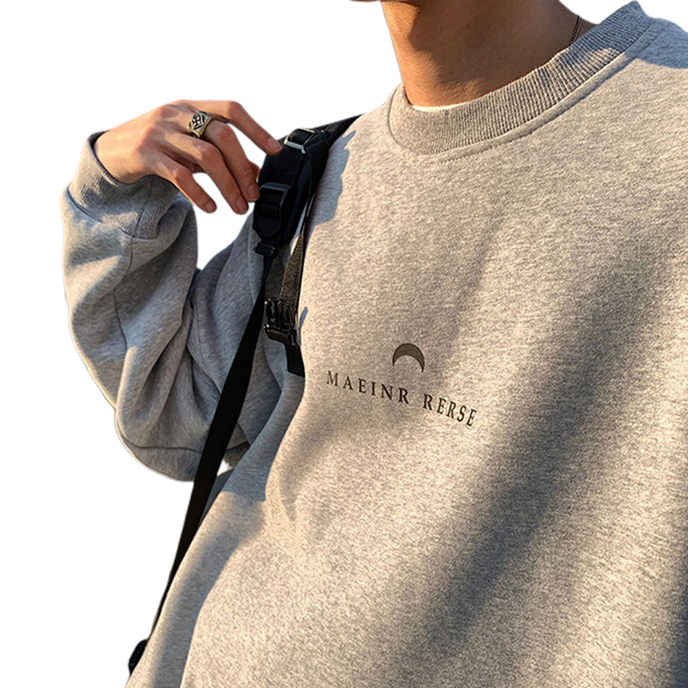 Men Women Crew Neck Sweatshirt Moon Letter Printing Solid Color Loose Fashion Pullover Tops Light gray_XL
