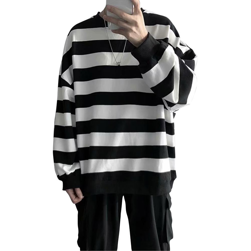 Men Women Sweatshirt Crew Neck Combined Color Stripe Loose Long Sleeve T-shirt Pullover Tops Black_L
