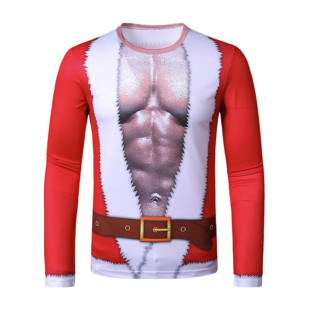 Men Long Sleeve T Shirt Round Collar 3D Printing Santa Claus Costumes  red_2XL