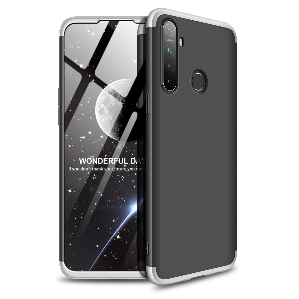 For OPPO Realme 5 Pro Smartphone Case Mobile Phone PC Shell Full Body Protection Anti-Scratch Cover Silver+black