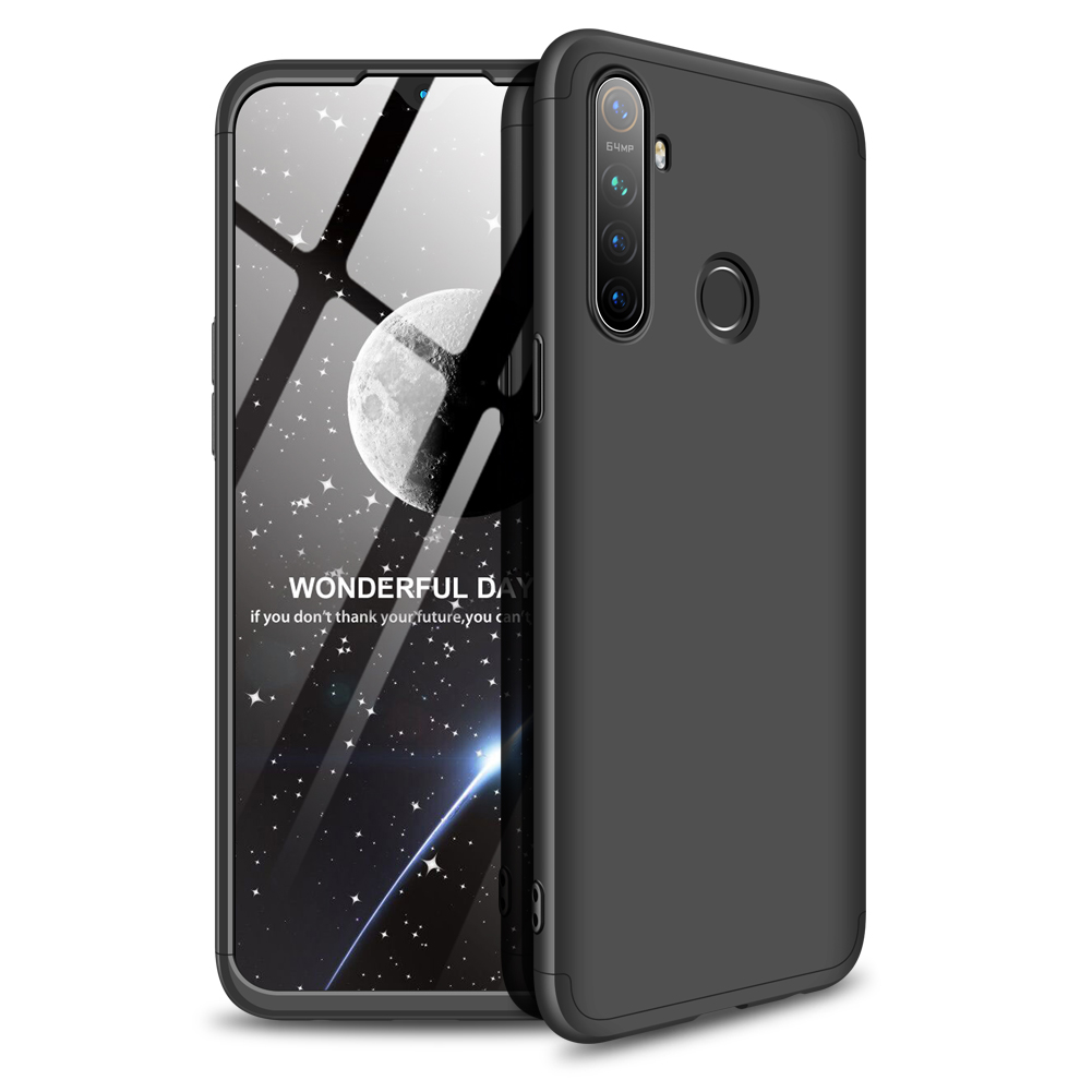 For OPPO Realme 5 Pro Smartphone Case Mobile Phone PC Shell Full Body Protection Anti-Scratch Cover Black