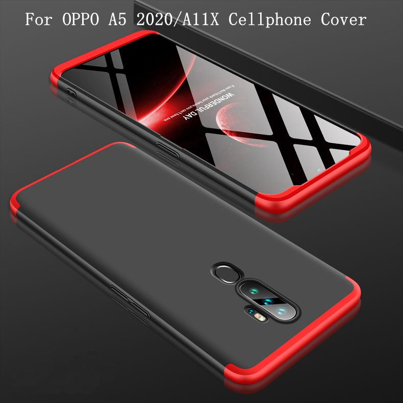 For OPPO A5 2020/A11X Cellphone Cover Hard PC Phone Case Bumper Protective Smartphone Shell black red