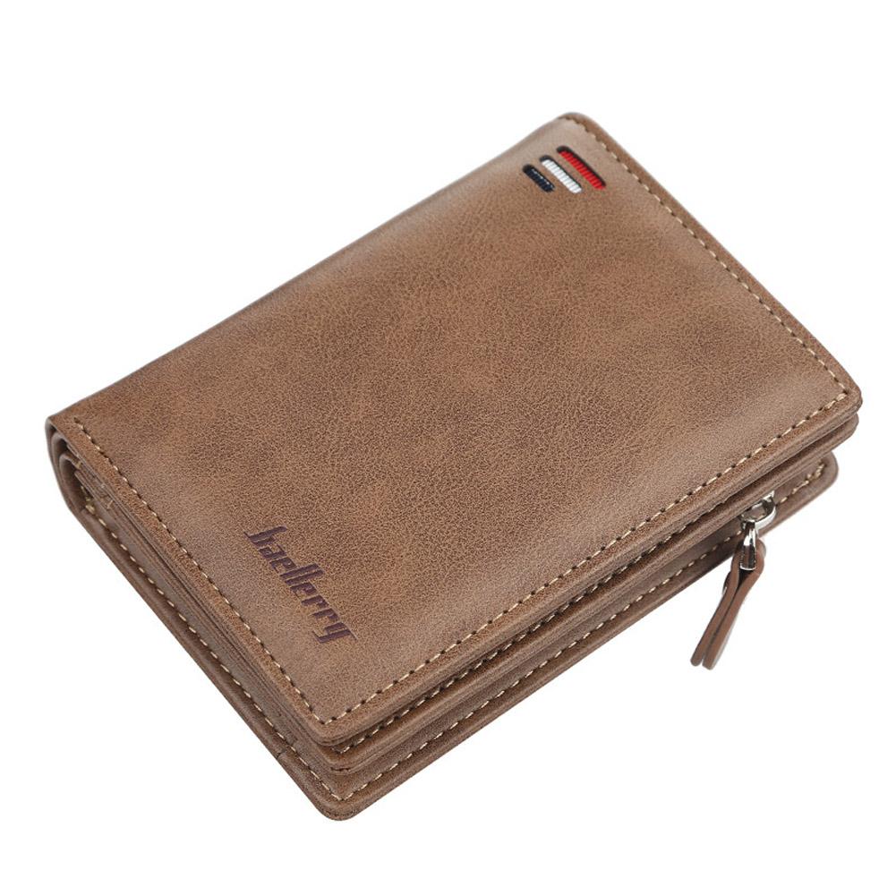 Men Zipper Short Style Wallet Card Slots Fashion Mini Snap Button Bag Khaki