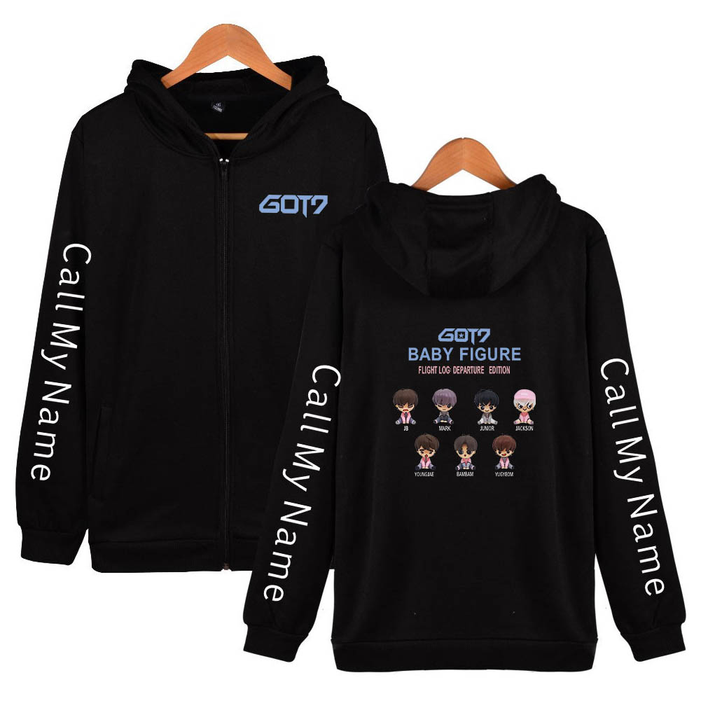 Zippered Casual Hoodie with Cartoon GOT7 Pattern Printed Leisure Top Cardigan for Man and Woman Black B_XXL