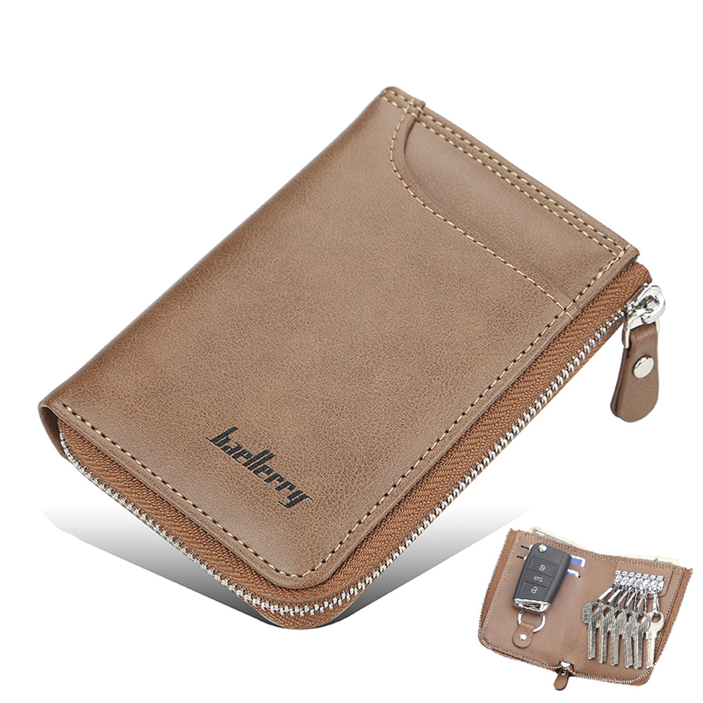 Men Short Zipper Wallet Portable Leather Key Case with Cards Slot brown