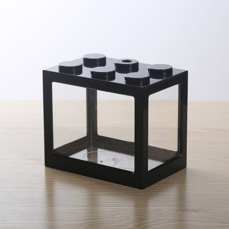 Superposed Mini Aquarium Fishbowl for Rumble Fish Marimo Spider Marimo(No USB No Light) Black