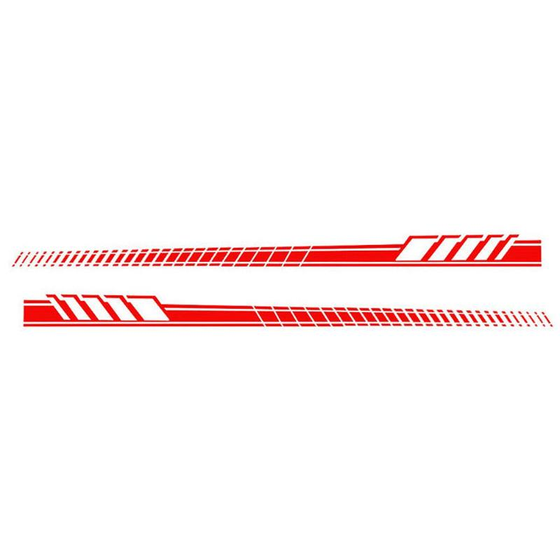 2pcs/Set Car Auto Body Stickers Long Stripe Side Skirt Decoration Vinyl Decals red