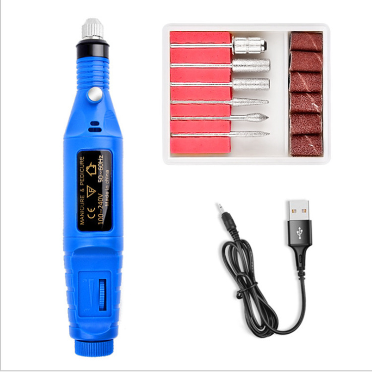 Professional Electric Manicure Machine Pen Pedicure Nail File Nail Tools 6 Bits Drill Nail Drill Machine Equipment blue