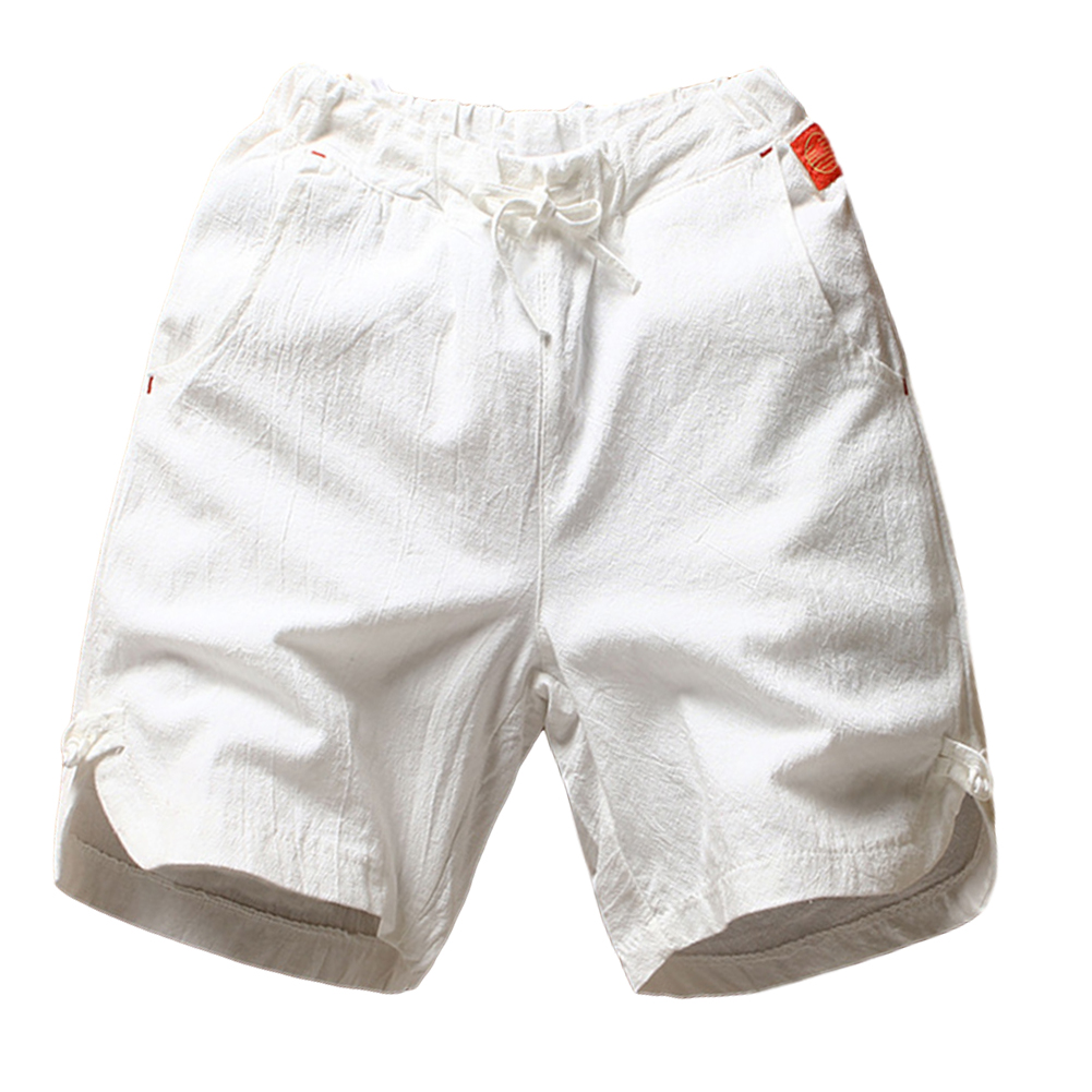 Men's Beach Pants Summer Cotton and Linen Solid Color Casual Fifth Pants White _M