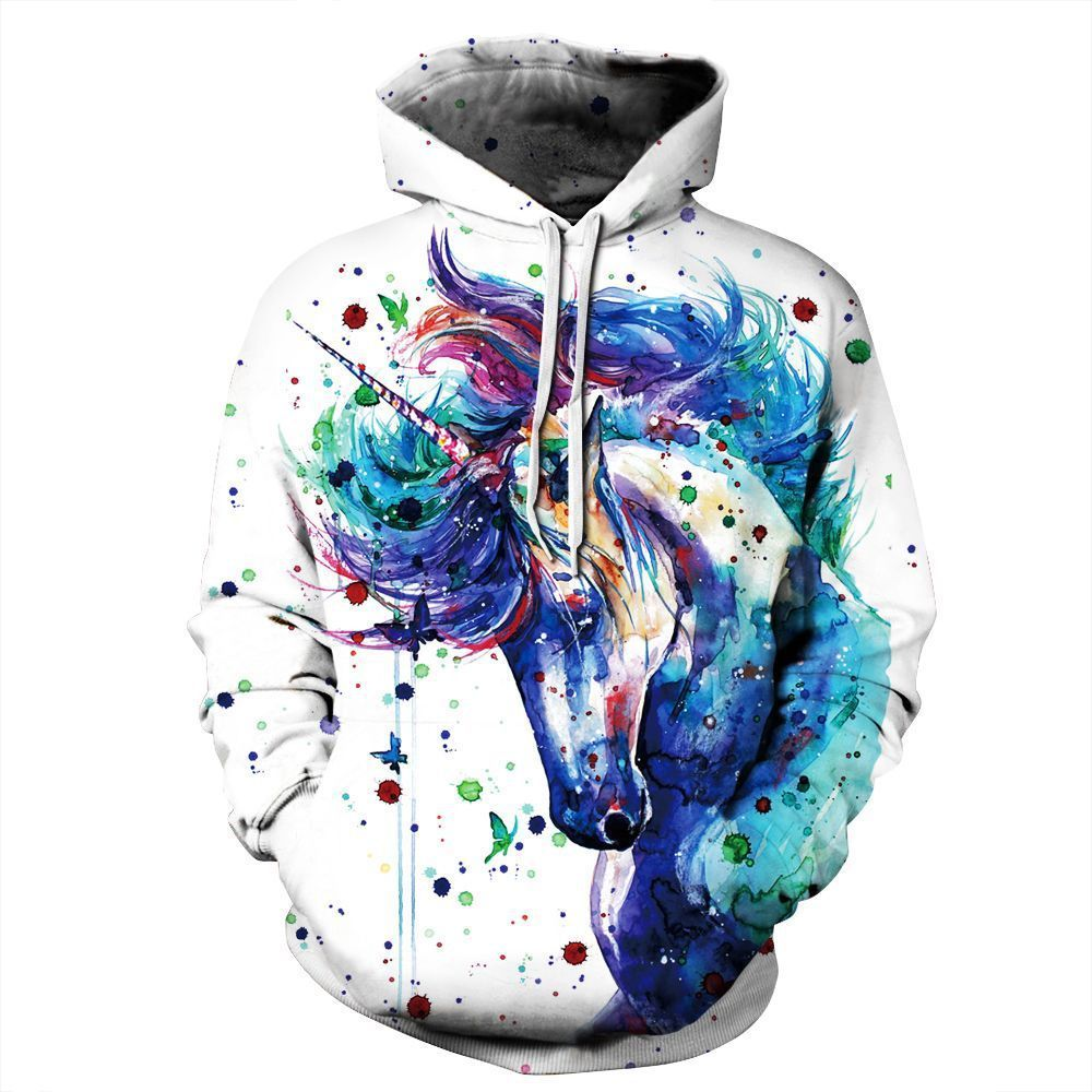 Couples Hooded 3D Inkjet Horsehead Printing Sweatshirts Photo Color_XL