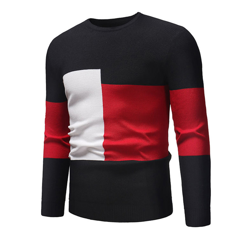 Male Sweater of Long Sleeves and Round Neck Casual Contrast Color Top Pullover Base Shirt black_L