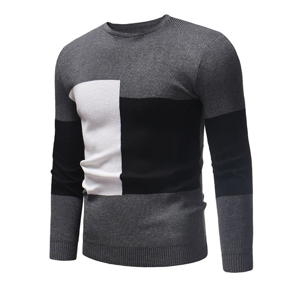 Male Sweater of Long Sleeves and Round Neck Casual Contrast Color Top Pullover Base Shirt gray_XL