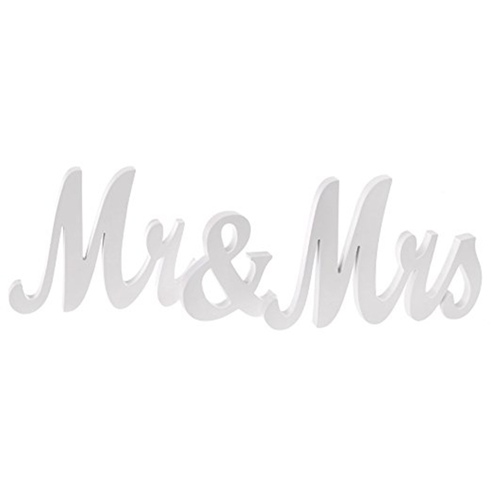 Exquisite Wooden Letters Mr & Mrs Wedding Pros Anniversary Party Decoration  white
