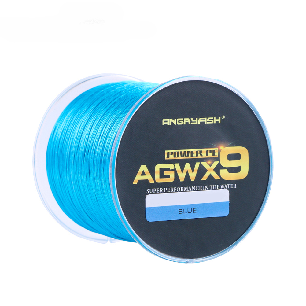 ANGRYFISH Diominate X9 PE Line 9 Strands Weaves Braided 500m/547yds Super Strong Fishing Line 15LB-100LB Blue 3.0#: 0.28mm/40LB