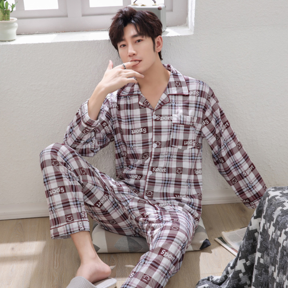 Men Winter Spring and Autumn Cotton Long Sleeve Casual Home Wear Pajamas Homewear 8804 red_XXXL