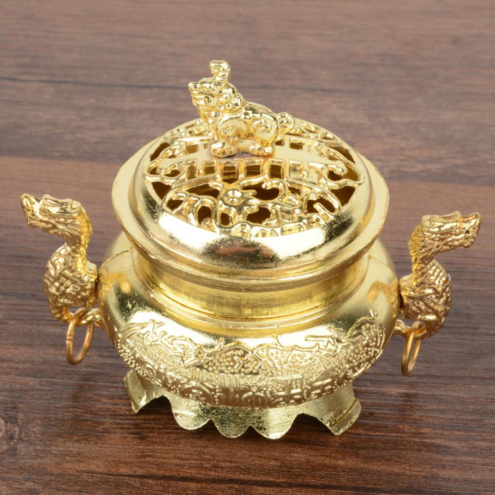 Retro Style Alloy Incense Burner Double Dragon Hollow Cover Censer Cone Holder Home Decoration Golden