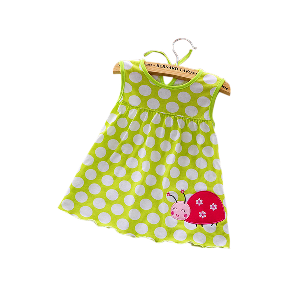 [Indonesia Direct] Cute Cartoon Newborn Baby Printing Sleeveless Dress Casual Round Neck Skirt Green Wave Point Beetle_0-1 years old skirt, 1-2 years old tops
