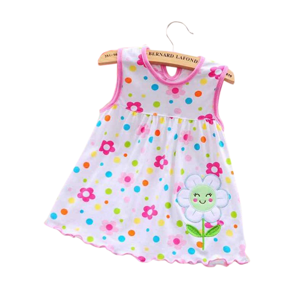 [Indonesia Direct] Cute Cartoon Newborn Baby Printing Sleeveless Dress Casual Round Neck Skirt Flowers_0-1 years old skirt, 1-2 years old tops
