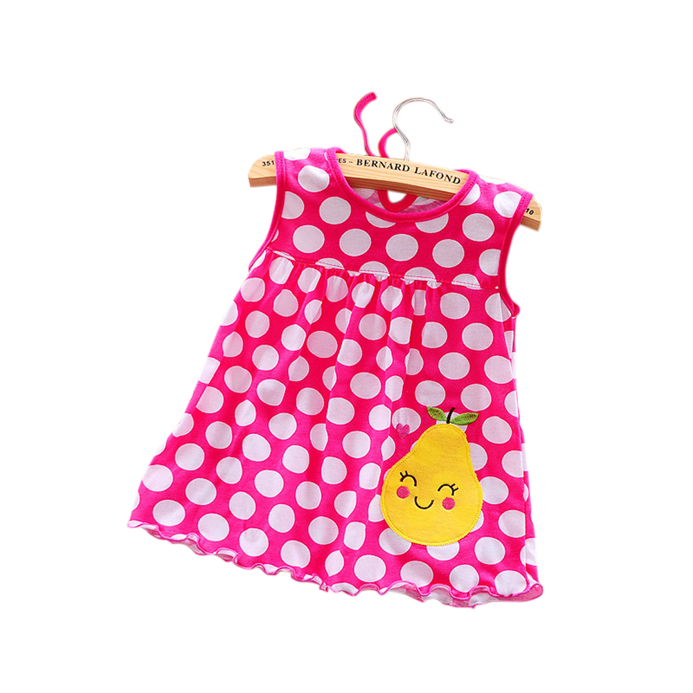 [Indonesia Direct] Cute Cartoon Newborn Baby Printing Sleeveless Dress Casual Round Neck Skirt Rose red pear_0-1 years old skirt, 1-2 years old tops